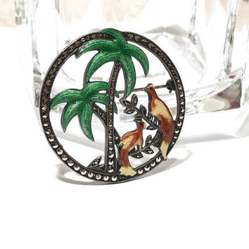 Art Deco Brooch, Sterling Silver, Marcasite Enamel Pin, Vintage 1930s, Uncas, Signed, Palm Trees, Birds, Circle Pin, Art Deco Jewelry