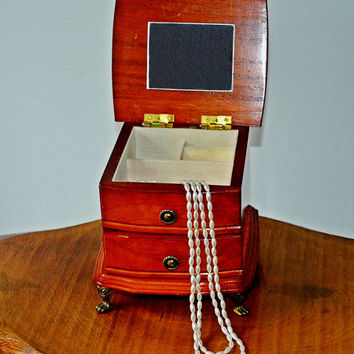 Vintage Wood Jewelry Music Box, Gunther Mele Music Box, 1976