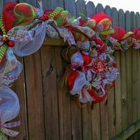 Christmas Garland and wreath, Deco Mesh Christmas Set, Handmade garland wreath, Holiday Decorations, Front door decor, Porch decor, custom