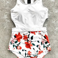 Cupshe Lilies open Print One-piece Swimsuit
