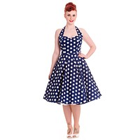Hell Bunny 60's Navy and White Polka Dot Halter Flare Party Dress