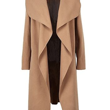 Women's Oversized Waterfall Belted Kim Kardashian Jacket Trench Coat