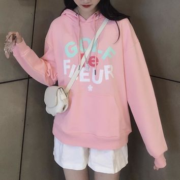 HCXX 19Aug 345 Converse x Golf Le Fleur Cotton Hooded Sweater Pink
