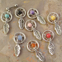 Small Dream Catcher Tragus Piercing YOU CHOOSE Gemstone Cartilage Barbell