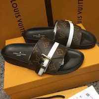 LV Slippers Louis Vuitton Sandals Stripe Belt Buckle Print Design Flat Shoes Coffee