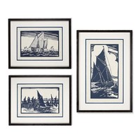 Sailboat Woodblock Print