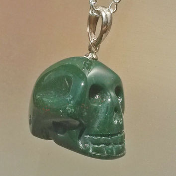 BLOODSTONE carved SKULL 925 Sterling Silver Pendant Necklace charm RARE Genuine Green Red Speckled March Birthstone Mineral Jewelry gift