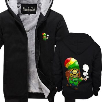 Winter Thick Warm Fleece Zipper Coat for Mens Rasta Minion Hoodies Bob Marley Reggae Weed Minions SportWear Tracksuit