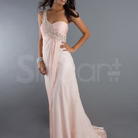 Feminine Pink One-shoulder Chiffon Beaded Court Train Prom Dress from SinoAnt
