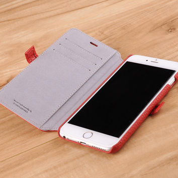 iPhone 6(s) Plus Genuine Leather Book Style Wallet Phone Case - Red Pebble Grain