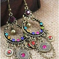 Tassels Chain Korean Style Vintage Colorful Diamond Earrings@SP43163 $5.56 only in eFexcity.com.