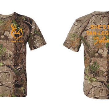 COUPLES Neon Camo T-shirts, Tan-Legged Juliet & Redneck Romeo, Heart Logo with Anniversary Date