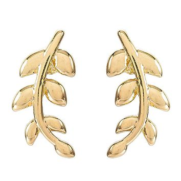 Delicate Gold Color Leaf Stud Post Earring Ear Climber Crawler for Women Party Jewelry Gift