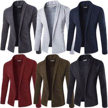 Mens Classic Fashion Marled Open-Front Shawl Collar Cardigan