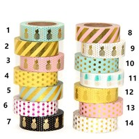 New 1X 15mm  Gold Stamping Pineapple Fruit Japanese Washi Tape Scrapbooking Tools Papelaria
