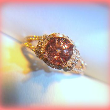 Spinel Engagement Ring 6mm Round  Peach Pink Spinel in a 10K Rose Gold Split Shank Diamond Halo Nice Padparadscha Sapphire Alternative
