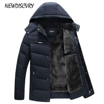 NEWDISCVRY Men's Hooded Parka Winter Man Jacket Waterproof Thick Fleece Warm Men Coat Casual Overcoat Male Clothes Outwear