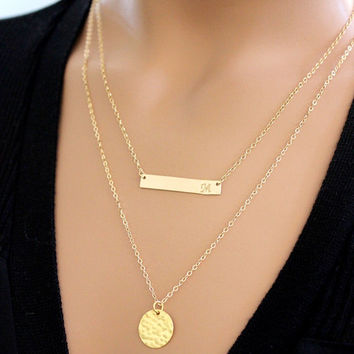 BIG SALE!! Gold Bar Necklace, Initial Bar Necklace, Personalized Jewelry, Bib, Nameplate bar, Bridesmaid GIFT, Pendant, Monogram, Gift