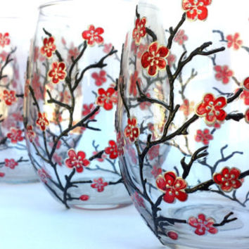 Cherry blosom Glasses. Set of 4. Hand painted glass