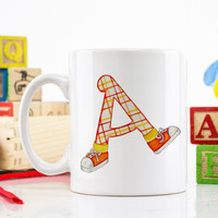 Personalized Teacher Coffee Mug - Alphabet Letter A,B,C,D,E,  personalized teacher gift, custom mug, coffee cup, tea cup, friendship gift
