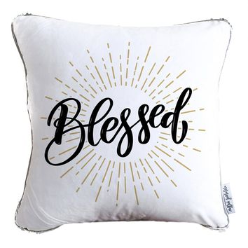 Blessed Calligraphy Decorative Throw Pillow w/ Reversible Gold and White Sequins - COVER ONLY (Inserts Sold Separately)