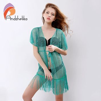 Andzhelika 2018 Summer Sexy Womens Beach Cover Up Hollow Lace Crochet Beachwear Tassel Women Swimsuit Beach Cover Up AK67161