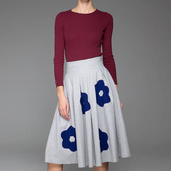 Light Gray Wool Skirt Warm Skirt With Small Blue Flower Pattern (1440)