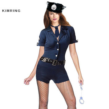 KIMRING SEXY WOMAN COP COSTUMES OFFICER FASHION HALLOWEEN ADULT FANCY POLICEWOMAN COSPLAY COSTUME FOR WOMEN