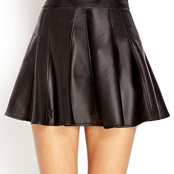 Dynamite Faux Leather Skater Skirt
