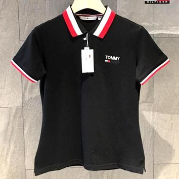 TOMMY JEANS Tide brand men and women long-sleeved letter lapel POLO shirt T-shirt Black