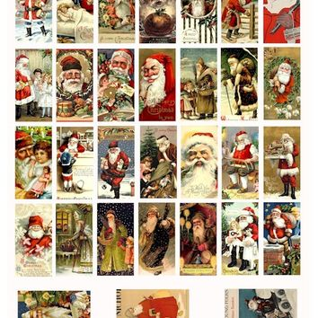VINTAGE Classic victorian old world Santa Claus christmas COLLAGE SHEET 1x2 inch dominos