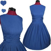 Vintage 50s BLUE Full Skirt Rockabilly SWING Party Dress M L COTTON Pinup Day