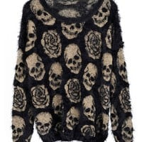 Long Sleeves Mohair Pullover with Skull & Roses Printed