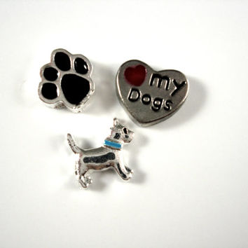 Floating Locket Charm fits Living Locket Origami Owl - 3 Charms Dog Puppy Paws