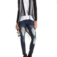Fringe-Trimmed Tribal Cascade Duster Cardigan