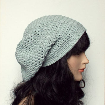 Powder Blue Slouch Beanie - Womens Slouchy Crochet Hat - Ladies Oversized Cap - Hipster Hat - Baggy Beanie