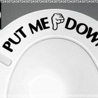PUT ME DOWN Decal Bathroom Toilet Seat Vinyl Sticker Sign Reminder for Him (free glowindark switchplate decal) stickerciti Brand:Amazon:Everything Else