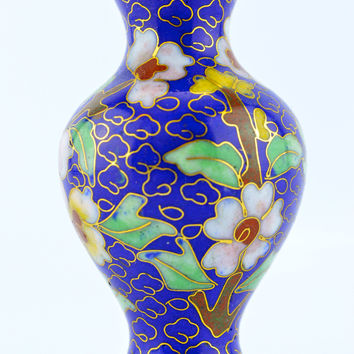 Cloisonne Peony Vase Blue Enamel Miniature with Gold & Floral Accent