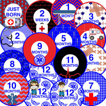 14 EMT Paramedic Emergency Medical Technician Hero Rescue Baby Boy or Girl Unisex Monthly Milestone Onesuit Stickers Newborn Shower Gift