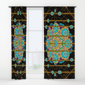 Golden star of rainbow stars Window Curtains by Pepita Selles