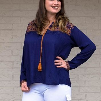 Royal Blue and Gold Embellished Long Sleeve Top