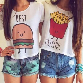S-XL 1PC New Casual Crop Tops Women Summer Round Neck Best Friends Print T Shirts Fashion Short Sleeve Graphic Short Shirt