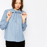 ASOS Pussy Bow Shirt in Chambray Blue at asos.com