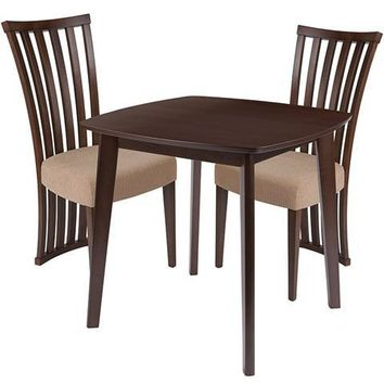 Westerly 3 Piece Walnut Wood Dining Table Set with Dramatic Rail Back Design Wood Dining Chairs - Padded Seats