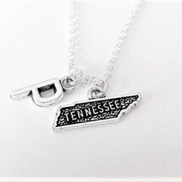 Tennessee necklace initial necklace state jewelry Tennessee map necklace best friend jewelry no matter where monogram necklace bff gift her