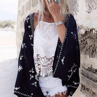 Women's Black Embroidered Kimono Coverup Cardigan with Floral Design