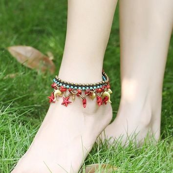 Cute Stylish Gift Sexy Jewelry New Arrival Shiny Ladies Accessory Bells Hot Sale Beach Bohemia Sea Vintage Anklet [1292354551875]