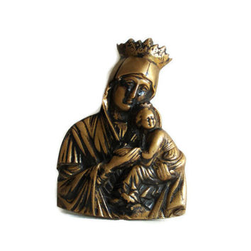 Virgin Mary and Jesus, antique 3d BRASS WALL HANGING decor, Religious icon, Catholic Christian Orthodox, Madonna & Child, metal relief art