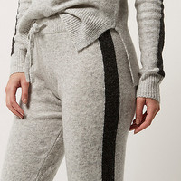 Grey knit stripe slim fit joggers