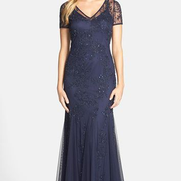 Women's Adrianna Papell Beaded Illusion Gown,